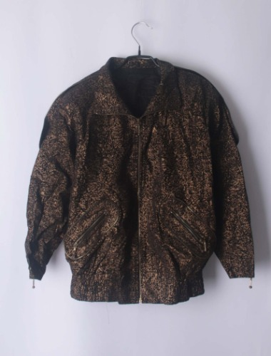 Gold printing leather jacket