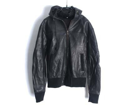 Leather hood blouson